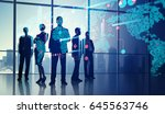 reflection of silhouettes in... | Shutterstock . vector #645563746