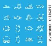 swimming icons set. set of 16... | Shutterstock .eps vector #645563989