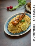 chicken kebab and biryani rice. ... | Shutterstock . vector #645565153