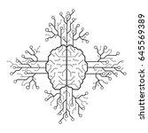 line electronic brain .... | Shutterstock .eps vector #645569389