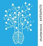 line electronic brain .... | Shutterstock .eps vector #645569470