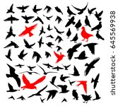 set of silhouettes of birds.... | Shutterstock .eps vector #645569938