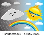 rainy and sunny weather. | Shutterstock .eps vector #645576028