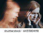 ill woman hearing voices in her ... | Shutterstock . vector #645580498