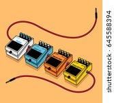 set of guitar pedals effects...   Shutterstock .eps vector #645588394