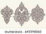 vector set of henna floral... | Shutterstock .eps vector #645598060
