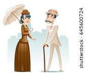 victorian lady gentleman... | Shutterstock .eps vector #645600724
