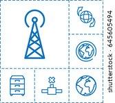 global icon. set of 6 global... | Shutterstock .eps vector #645605494