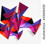 3d triangles and pyramids ... | Shutterstock .eps vector #645606430
