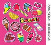 sweet food stickers  badges and ... | Shutterstock .eps vector #645607000