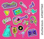musical stickers  badges and... | Shutterstock .eps vector #645607060