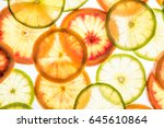 bright lime and orange slices.... | Shutterstock . vector #645610864