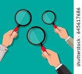 three hands holding a... | Shutterstock .eps vector #645617686