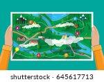 hands with suburban paper map... | Shutterstock .eps vector #645617713