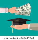 hand with money and graduation... | Shutterstock .eps vector #645617764