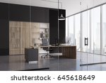 ceo office interior with a... | Shutterstock . vector #645618649