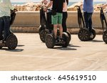 a group of people are riding on ... | Shutterstock . vector #645619510