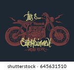 motorcycle hand drawn t shirt... | Shutterstock .eps vector #645631510