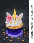 unicorn cupcakes on a black... | Shutterstock . vector #645638224