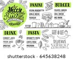 vegan food menu for restaurant... | Shutterstock .eps vector #645638248