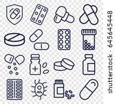 pill icons set. set of 16 pill... | Shutterstock .eps vector #645645448