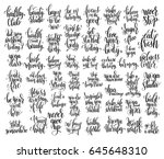 set of 50 hand lettering... | Shutterstock . vector #645648310