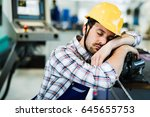 tired worker fall asleep during ... | Shutterstock . vector #645655753
