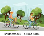 family on bikes. happy family... | Shutterstock .eps vector #645657388