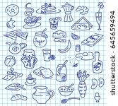morning breakfast doodle | Shutterstock .eps vector #645659494