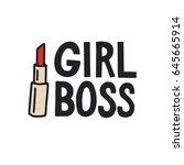 girl boss. feminism quote ... | Shutterstock .eps vector #645665914