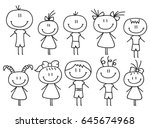 set of happy cartoon doodle... | Shutterstock .eps vector #645674968