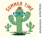 cactus summer time typography ... | Shutterstock .eps vector #645678244