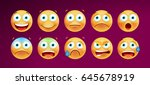 set of cute emoticons on black... | Shutterstock .eps vector #645678919