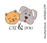 cute cartoon dog and cat.kitten ... | Shutterstock .eps vector #645681199