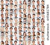 collage of business people... | Shutterstock . vector #645681784