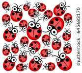 set of red beetles and red bugs ...