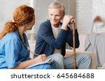 attentive delicate therapist...   Shutterstock . vector #645684688
