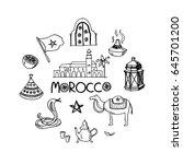 hand drawn morocco travel... | Shutterstock .eps vector #645701200