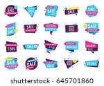 colorful logos with sale... | Shutterstock .eps vector #645701860