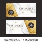 gift voucher template.vector... | Shutterstock .eps vector #645702100