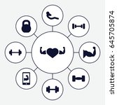 muscle icons set. set of 9... | Shutterstock .eps vector #645705874