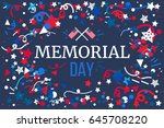 memorial day banner with... | Shutterstock .eps vector #645708220