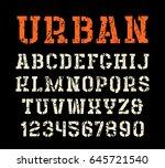 stencil plate serif font in... | Shutterstock .eps vector #645721540