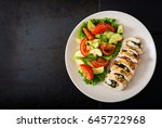 baked chicken rolls with greens ... | Shutterstock . vector #645722968