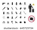 dangerous and prohibited item...   Shutterstock .eps vector #645725734