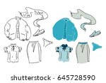 fall and winter clothes...   Shutterstock .eps vector #645728590