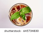 summer cocktail with syrup and... | Shutterstock . vector #645734830