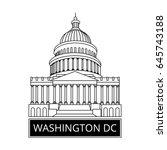washington dc symbol. white... | Shutterstock .eps vector #645743188