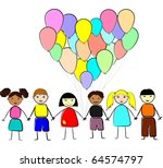 multinational kids holding... | Shutterstock .eps vector #64574797