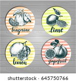 Set Of Round Stickers With...